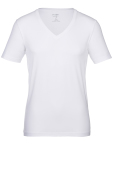 OLYMP Level 5 t-shirt wit v-hals katoen-stretch