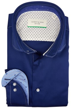 Jackett & Sons shirt blauw wit stiksel