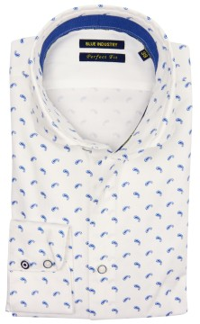 Blue Industry overhemd wit blauw paisley print
