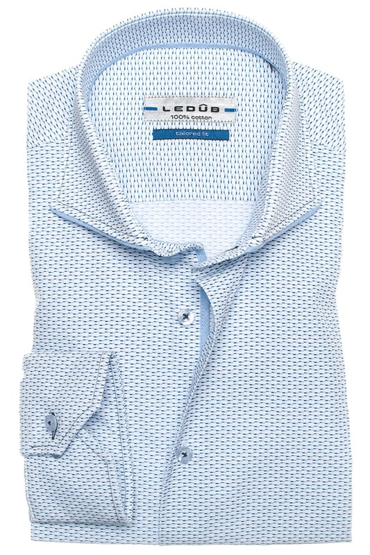 Ledub Shirt Middenblauw Tailored Fit