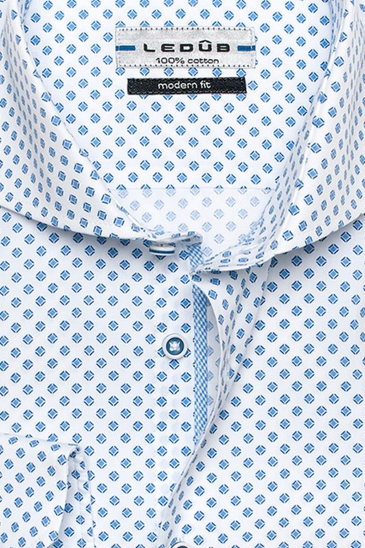 Ledub Blauw Print Business Overhemd Modern Fit