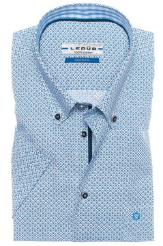 Ledub korte mouw shirt blauw motief tailored fit