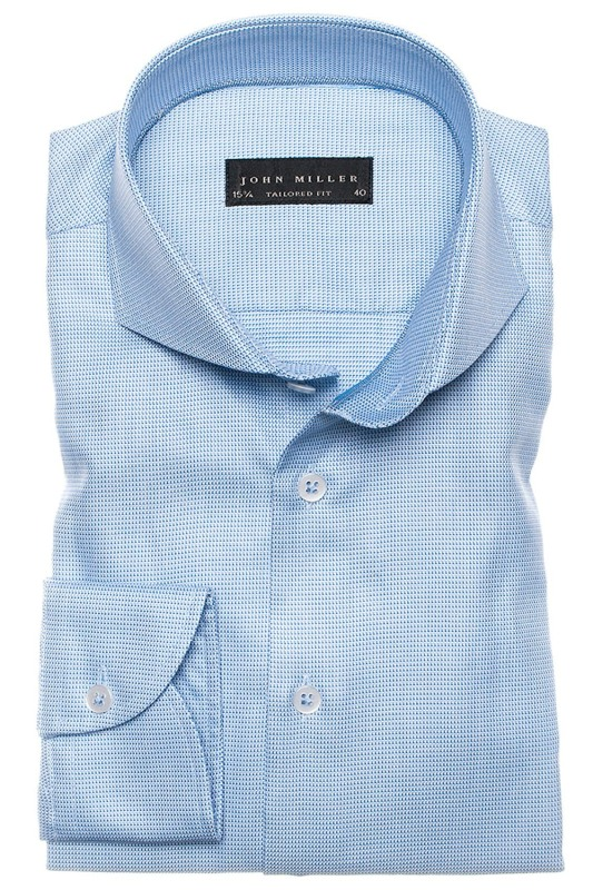John Miller tailored fit overhemd blauw motief