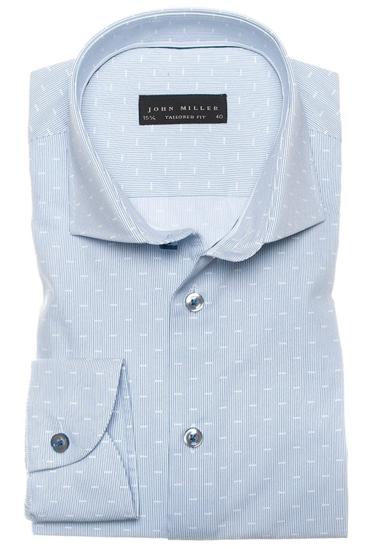 John Miller tailored fit hemd blauw motief