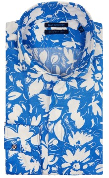 Blue Industry perfect fit overhemd blauw print