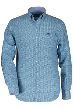 State of Art Shirt blauw print button down