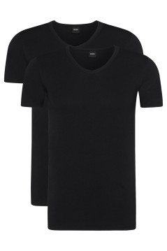 Hugo Boss slim fit t-shirt zwart v-hals 2-pack