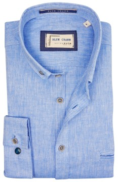 Blue Crane slim fit overhemd blauw linnen mix