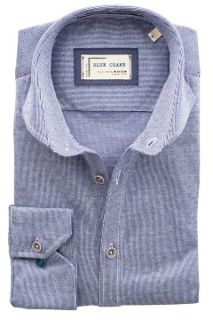 Blue Crane shirt blauw motief slim fit