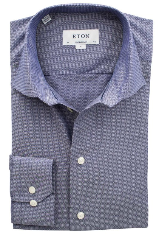 Eton overhemd blauw micromotief contemporary fit