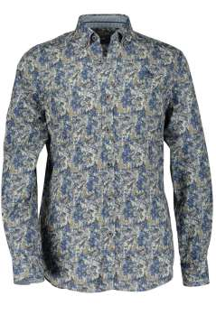 State of Art shirt blauw beige bladmotief
