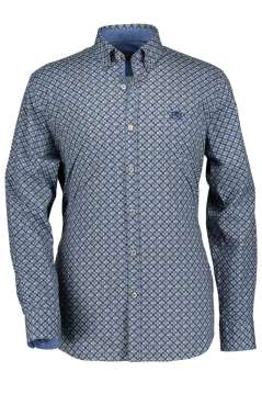 State of Art regular fit hemd blauw print poplin
