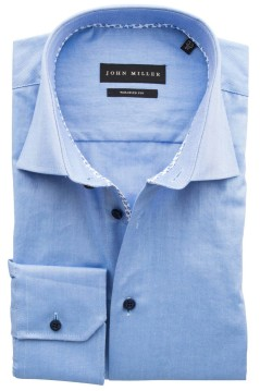 John Miller mouwlengte 7 shirt blauw tailored fit