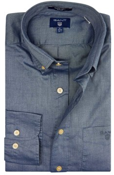 Gant overhemd blauw winter twill regular fit
