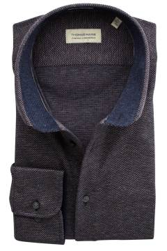Thomas Maine shirt tailored fit donkerblauw motief