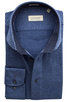 Thomas Maine shirt blauw motief tailored fit
