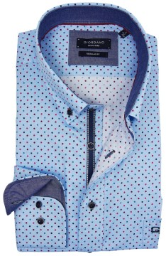 Giordano shirt lichtblauw stip motief regular fit