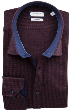 Giordano modern fit shirt bordeaux motief