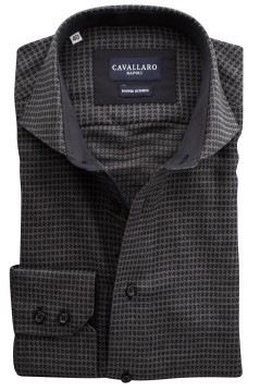Cavallaro shirt Rico antraciet motief two ply
