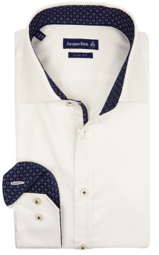 Jacques Britt overhemd slim fit wit navy contrast