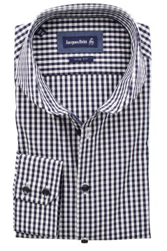 Jacques Britt slim fit overhemd donkerblauw ruit