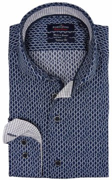 Portofino tailored fit overhemd donkerblauw motief