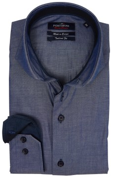 Portofino overhemd blauw melange tailored fit