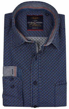 Casa Moda casual fit overhemd donkerblauw motief