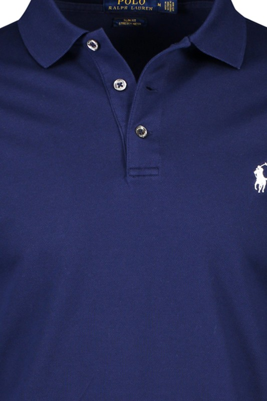 Ralph Lauren slim fit polo lange mouw navy