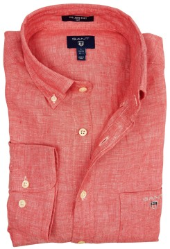 Slim fit linnen button down overhemd Gant rood