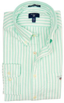 Gant regular fit overhemd mintgroen streep Oxford