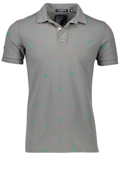 Superdry polo slim fit palmboom grijs