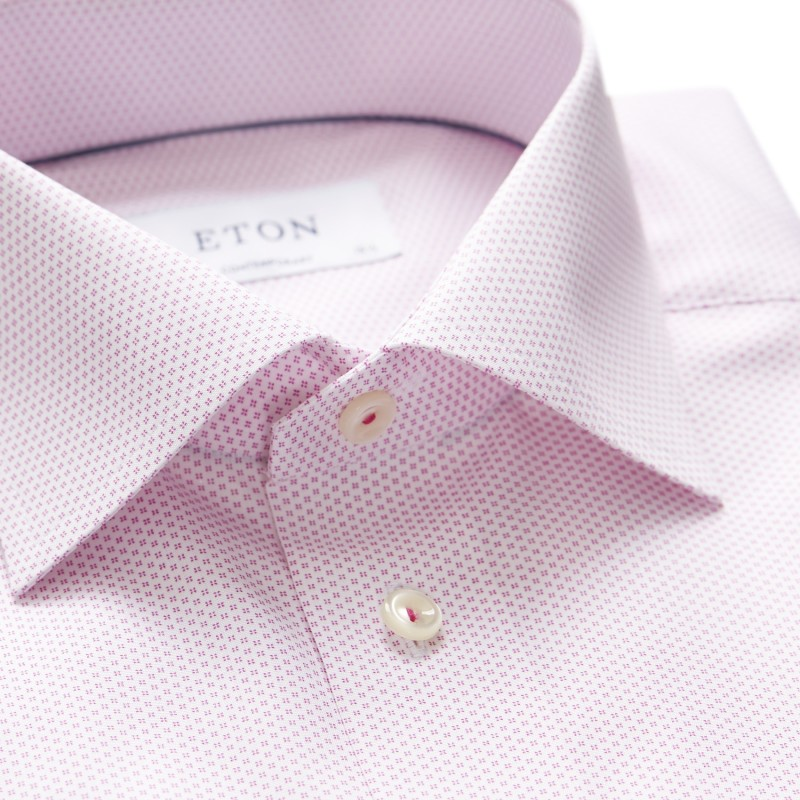 Eton overhemd roze micro motief contemporary fit