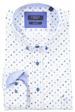 Giordano shirt wit blauw print regular fit