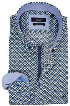 Giordano shirt blauw geel print regular fit