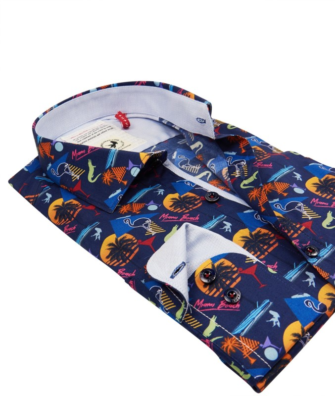 A Fish Named Fred shirt donkerblauw Miami print