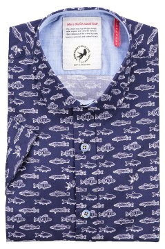 A Fish Named Fred shirt korte mouw navy
