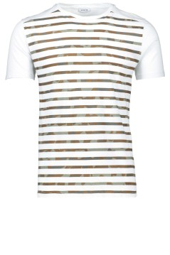 Distretto 12 t-shirt army bruin wit streep