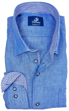 Culture shirt blauw casual regular fit
