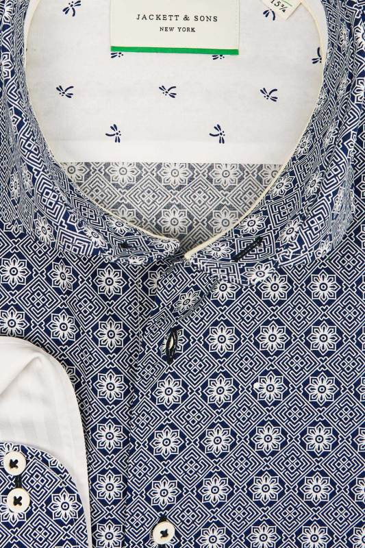 Jackett & Sons navy shirt met motief