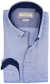 Bugatti easy care hemd blauw button down