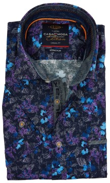 Casa Moda casual shirt donkerblauw stretch