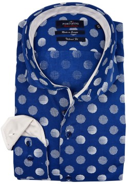 Portofino shirt blauw tailored fit met stip