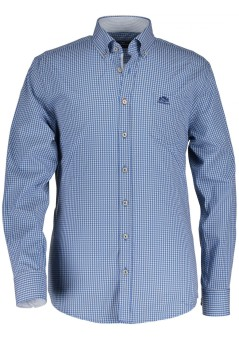 State of Art shirt structuur blauw wit button down