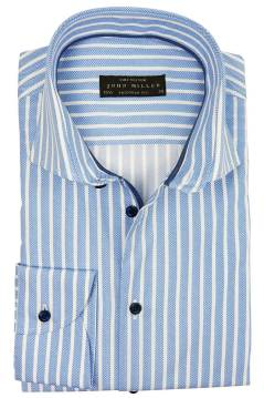 John Miller shirt mouwlengte 7 tailored fit blauw