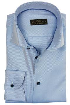 John Miller hemd mouw 7 tailored fit blauw