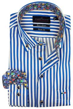 Portofino shirt regular fit blauw gestreept