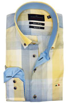Portofino shirt regular fit geel blauw geruit