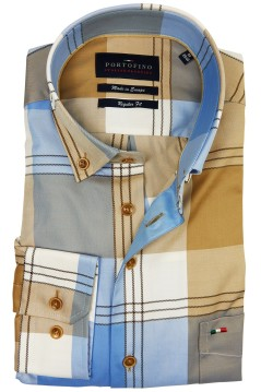 Portofino shirt regular fit geruit beige blauw