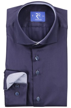 R2 shirt mouwlengte 7 donkerblauw contrast